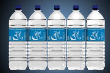 Water Bottle Label Mockup In PSD
