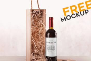 Print-ready Free Wine Bottle PSD Mockup