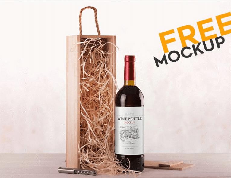 Free Wine Bottle PSD Mockup Template Design