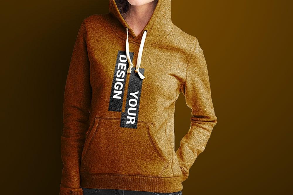 women hoodie mockup free psd