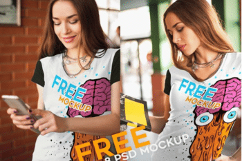 Cool Looking Women T-shirt PSD Mockup (A Set of 8)