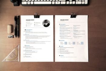 Free Effectively Simple Resume Plus Desk Mockup
