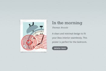 Free Stylish Stamp Poster Design Mockup in PSD