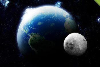 Free Earth Plus Moon Scene Mockup in PSD