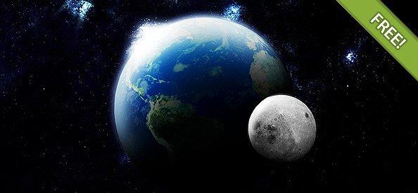 Earth Plus Moon Scene