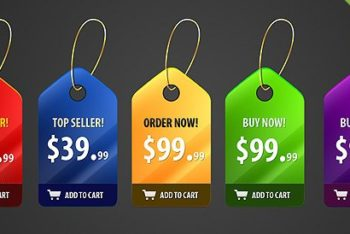 Free Shiny Price Badges Design Mockup in PSD