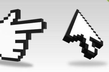 Free 3D Pixelated Cursor Renders Mockup in PSD