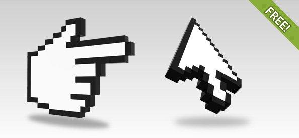 3D Pixelated Cursor Renders