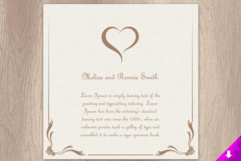 Lovely & Simple Designed Wedding Invitation Card PSD Mockup