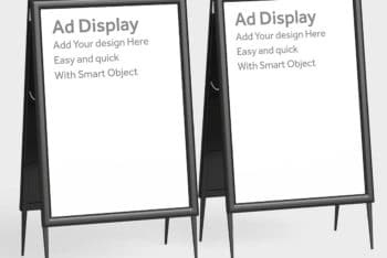 Free Physical Advertisement Display Stand Mockup