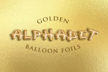 Free Alphabet Balloon Foils Text Mockup in PSD