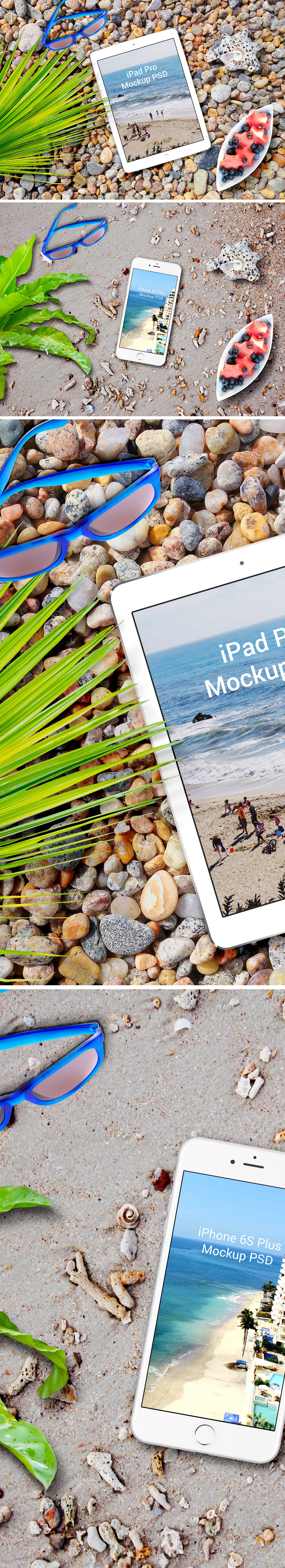 Apple Devices Plus Beach Scene