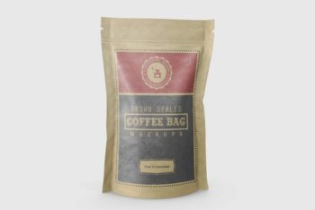 Paper-made Sealed Coffee Pouch PSD Mockup Available For Free