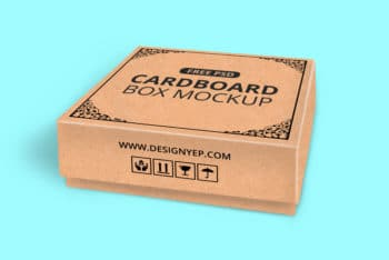 Cardboard Box PSD Mockup Available For Free