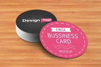 Circle Shaped Business Card PSD Mockup – Unique Look Meets Useful Features