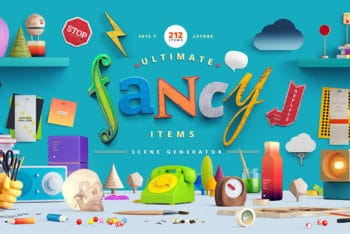 Free Awesome Fancy Items Scene Mockup in PSD
