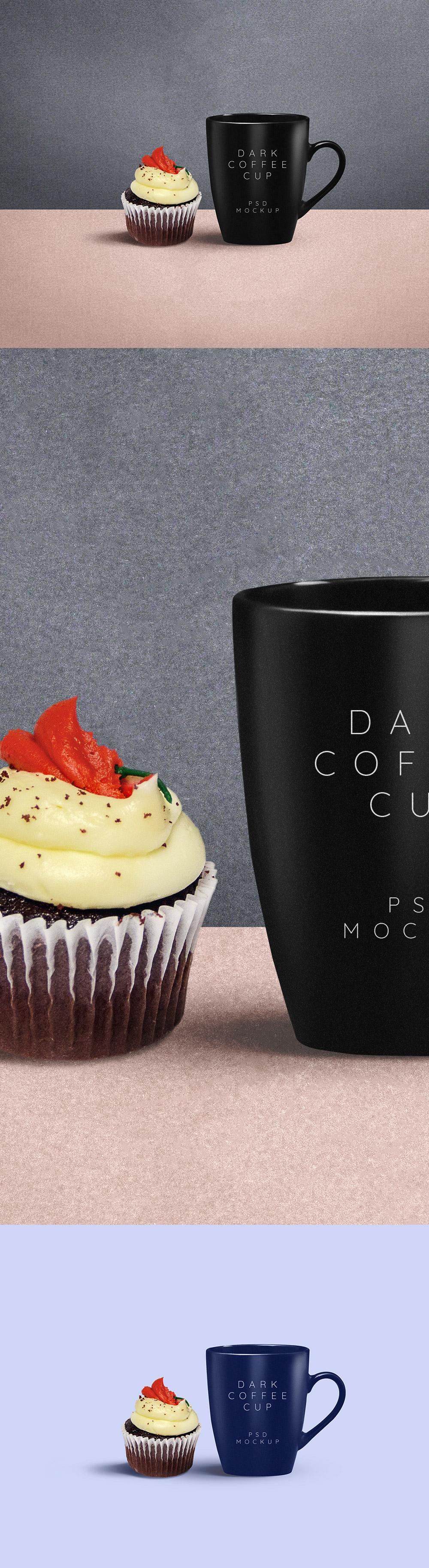 Dark Coffee Mug Plus Cupcake
