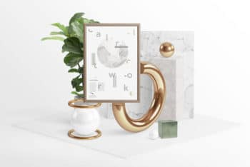 Free Surreal Frame Design Scene Mockup in PSD