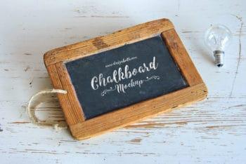 Free Wooden Frame Chalkboard Mockup in PSD