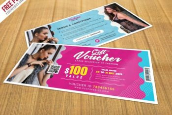 Free Awesome Gift Voucher Design Mockup in PSD