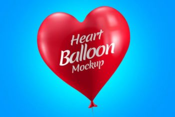 Free Lovely Heart Balloon Design Mockup in PSD