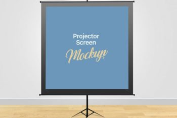 Free Meeting Projector Screen Mockup in PSD
