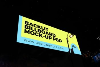 Free Outdoor Backlit Billboard Mockup in PSD