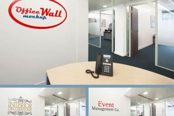 Free Office Interior Wall Sign Mockup in PSD