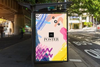 Free Bus Stop Billboard PSD Mockup for Outdoor Advertisement