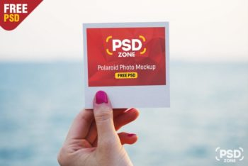 Free Polaroid Photo Design Mockup in PSD