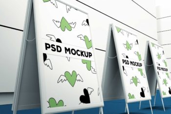 Free Double Sided Banner Stand PSD Mockup Available With A Tilted View