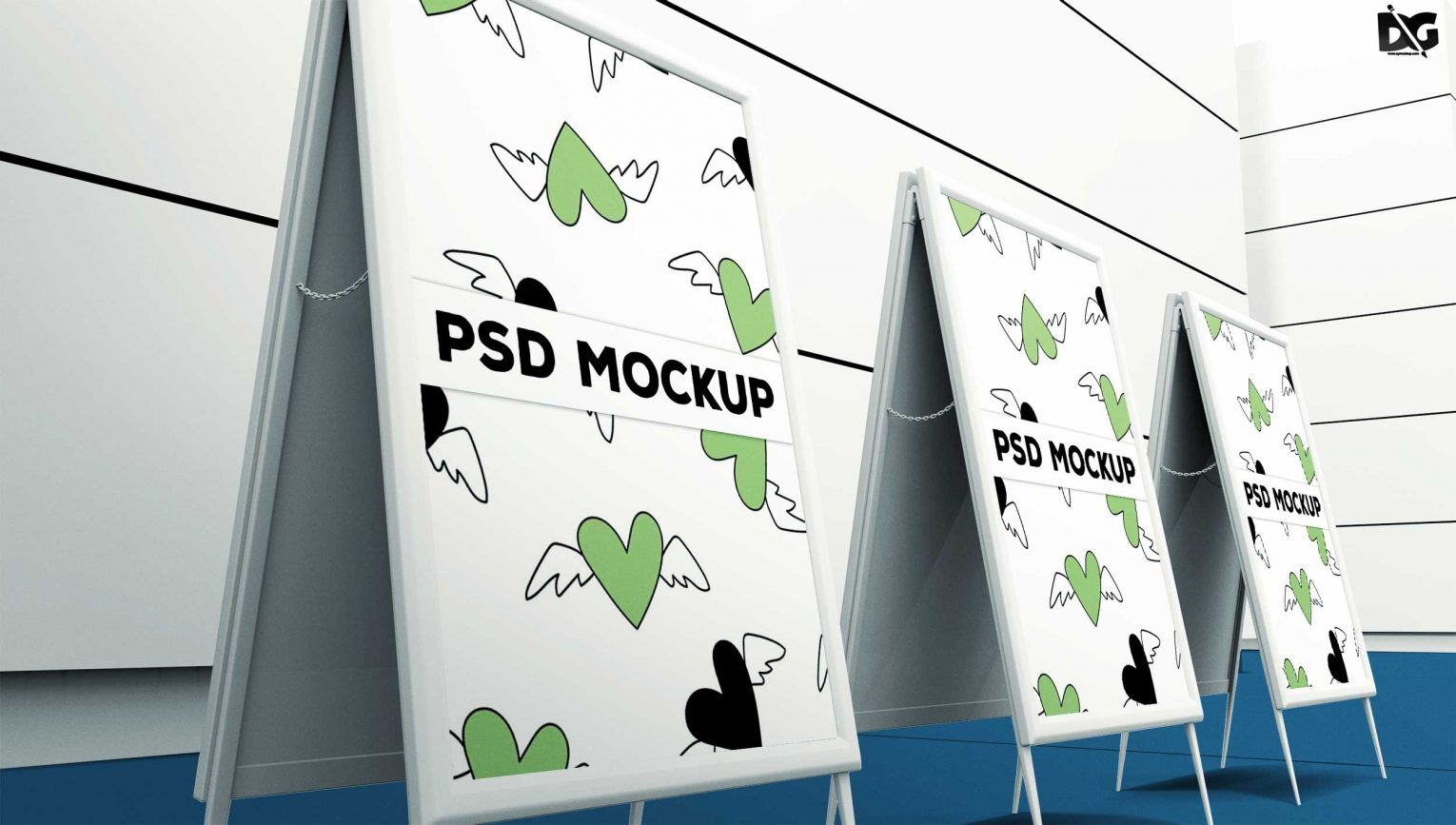 Double Sided Banner Stand PSD Mockup Design