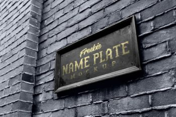 Free Outdoor Wall Name Plate Mockup in PSD