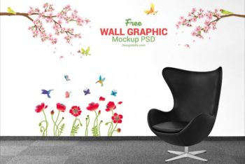Free Wall Decal Plus Executive Chair Mockup in PSD