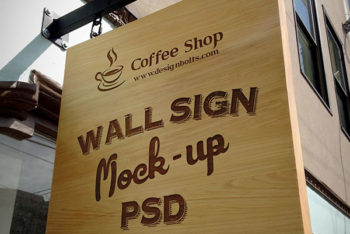 Free Wooden Outdoor Hanging Sign Mockup in PSD