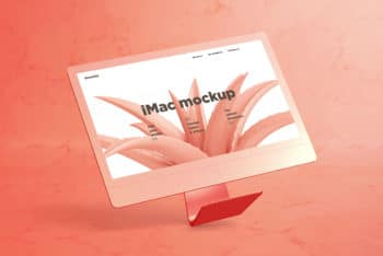 Free Floating iMac Plus Marble Background Mockup