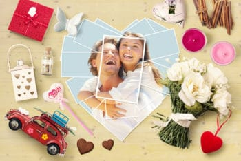 Free Love Assets Plus Photos Mockup in PSD