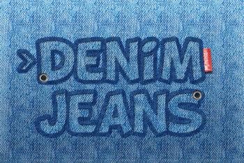 Free Denim Jeans Text Logo Mockup in PSD