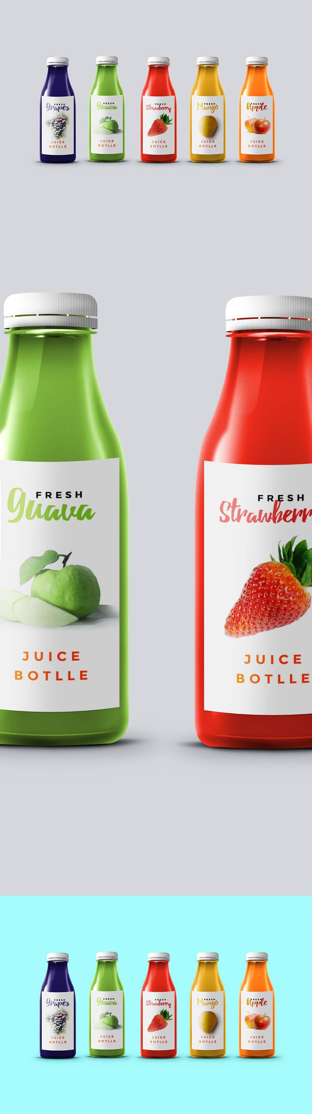 Five Fruit Juice Bottles
