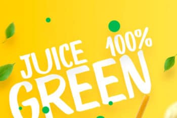 Free Customizable Juice Poster Design Mockup in PSD