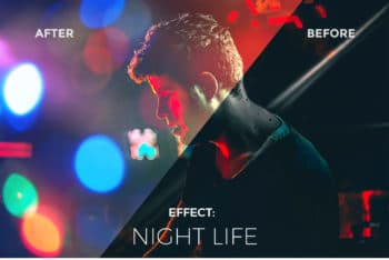 Free Light Plus Bokeh Photo Effects Mockup in PSD