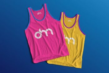 Free Male Tank Top Design Mockup in PSD
