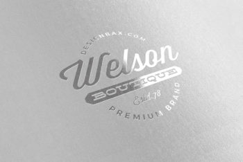 Free Shiny Metallic Silver Logo Mockup in PSD