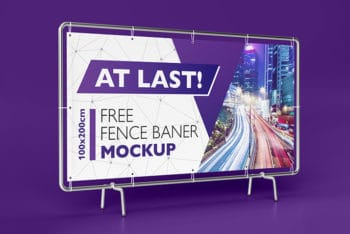 Free Realistic Modern Fence Banner Mockup in PSD