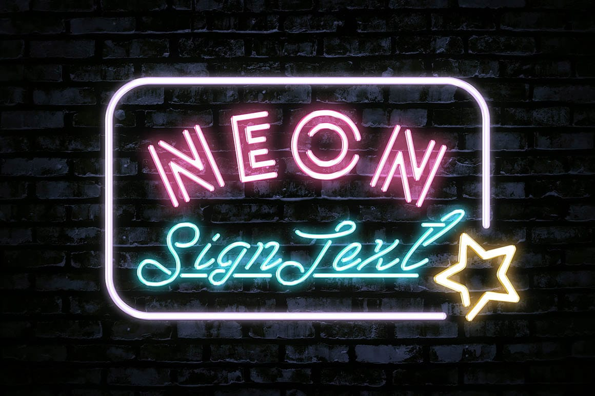 Bright Neon Sign Text Effect