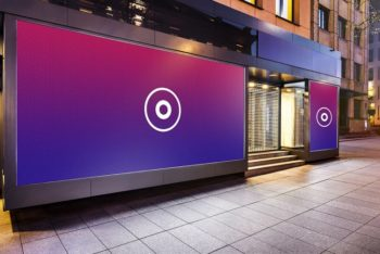 Free Shop Wall Outdoor Advertising Mockup in PSD