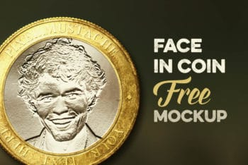 Free Customizable Face Coin Design Mockup in PSD