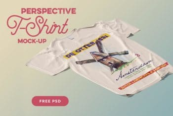 Free Perspective Shirt Design Mockup in PSD