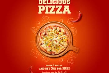Free Delicious Pizza Poster Design Mockup in PSD
