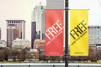 Roadside Banner PSD Mockup for Outdoor Advertising